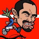 サッカー選手の久保竜彦の似顔絵