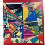 小学生の時の抽象画自画像